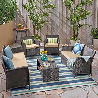 Great Deal Furniture Lucia Outdoor 7 Seater Wicker Chat Set, Brown and Tan