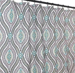 Elegant Blue Brown Neutrals Fabric Shower Curtain: Teardrop Paisley Print Design, 72