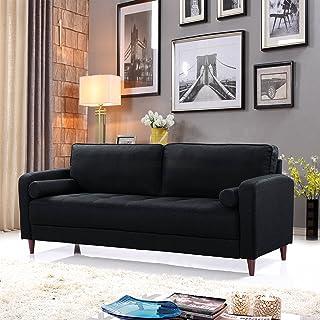 Mid Century Modern Linen Fabric Living Room Sofa (Black)