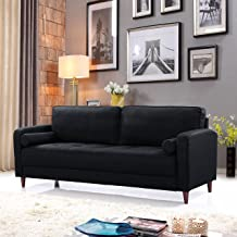 Divano Roma Furniture Middle Century Modern Linen Fabric Living Room Sofa (Black)