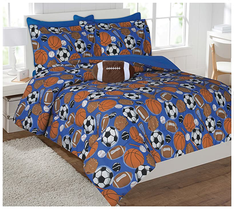 Twin Size 6 Pieces Reversible Printed Sport Microfiber Kids Bed In Bag Bedding Comforter with sheets and pillow cases