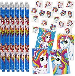 Gift Boutique Unicorn Party Favors for Girls Rainbow Birthday Supplies Includes 144 Unicorn Temporary Tattoos 12 Unicorns Pencils and 12 Unicorn Notepads for Kids School Classroom Favor Set