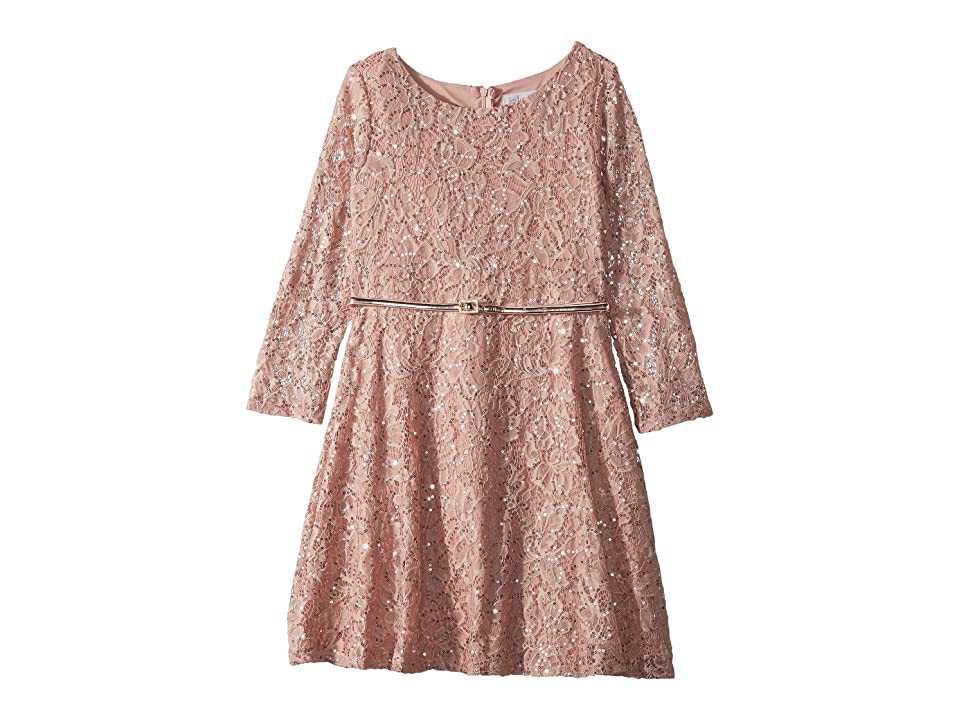 Us Angels 3/4 Sleeve Sequin Lace Party Dress (Big Kids) (Blush) Girl