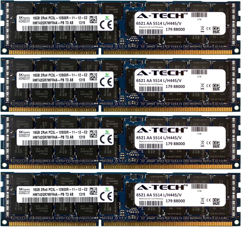 A-Tech Hynix 64GB Kit 4X 16GB PC3-12800 1.35V for Dell Precision Workstation Snpp9rn2c//8g A2626072 A2626093 A2862069 A2862074 A3721482 T5600 T7500 T7600 T5500 T5600 T7500 T7600 T5500 Memory RAM