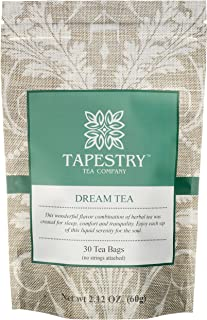 Tapestry Tea Company Dream Tea Bags Herbal Sleep Chamomile Blend 17 Natural Ingredients Relaxation Lucid Sleep Aid - 30 Count