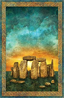 Northcott Stonehenge Digital Solstice Panel 28'' Teal Fabric
