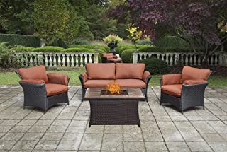 Hanover STRALLR4PCFP-RST-TN 4 Piece Strathmere Allure Lounge Set with 40,000 BTU Fire Pit Table Outdoor Furniture, Wood Grain Top