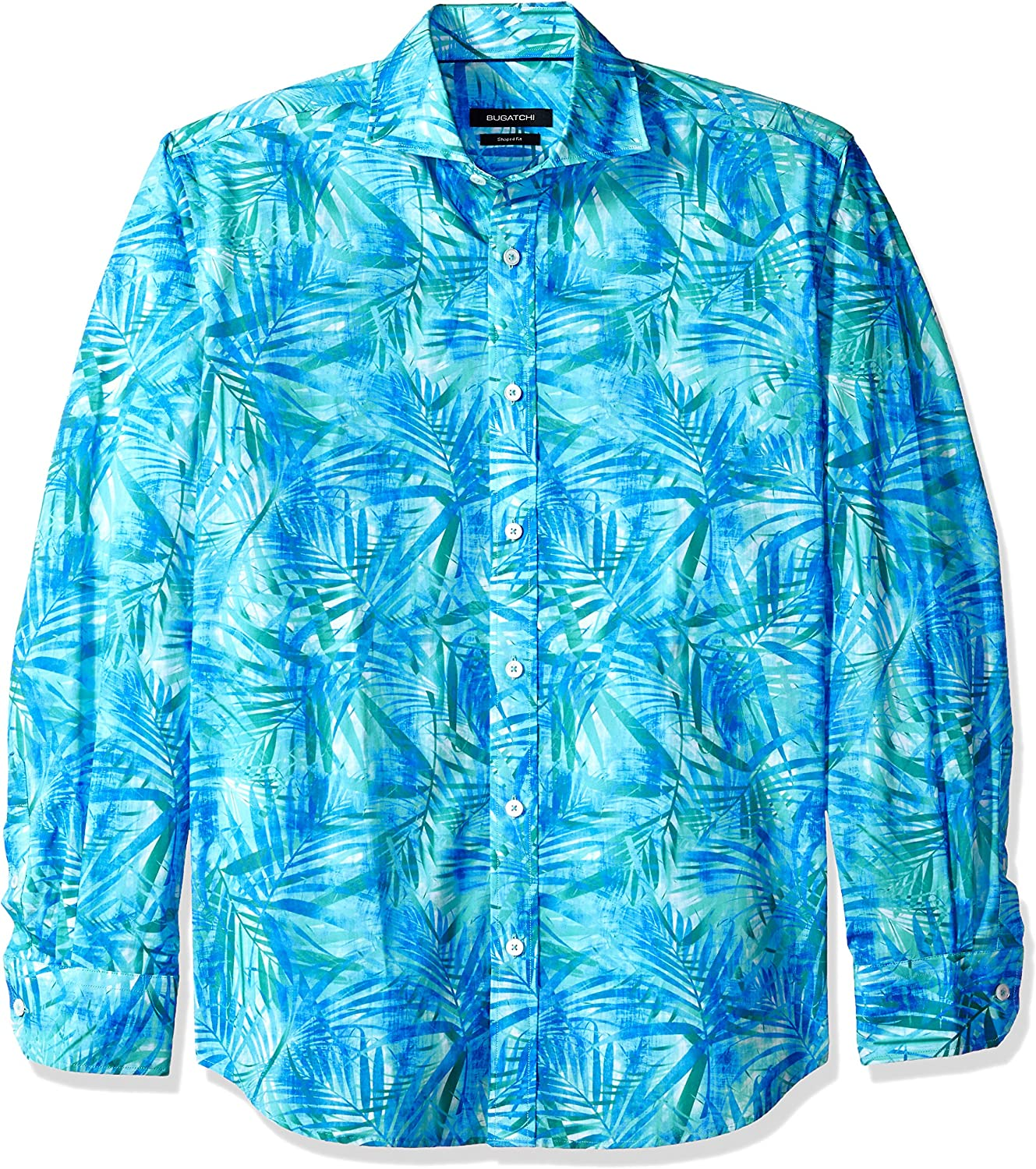 Bugatchi Men's Tailored Fit Square Pattern Long Sleeve Button Down Woven
