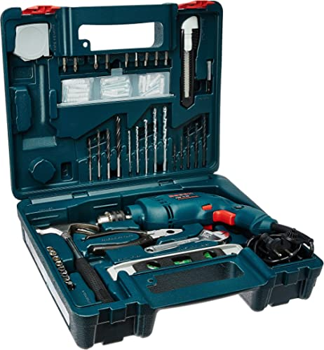 Bosch GSB 500W 10 RE Professional Tool Kit, MS & Plastic (Blue, Set of 100 Tools)