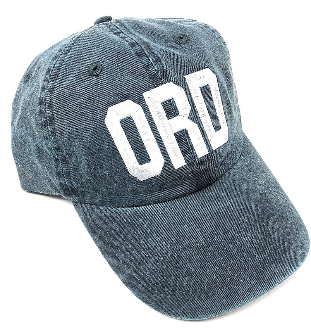Custom Embroidered ORD O'Hare International Airport Code Baseball Hat (Pigment Dyed Navy Blue with White Lettering)