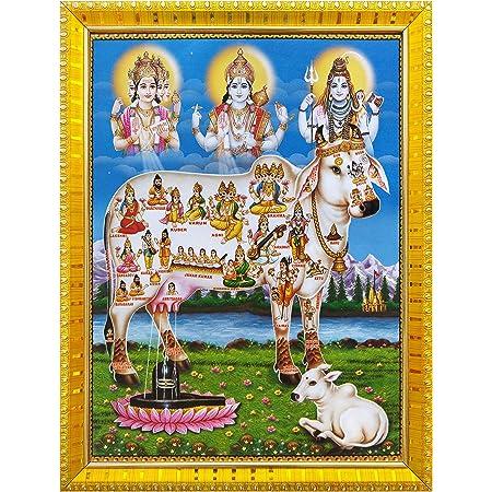 Koshtak kamdhenu Cow with Brahma Vishnu Mahesh/Shiva Giving Blessing Photo Frame with Laminated Poster for puja Room Temple Worship/Wall Hanging/Gift/Home Decor (30 x 23 cm)
