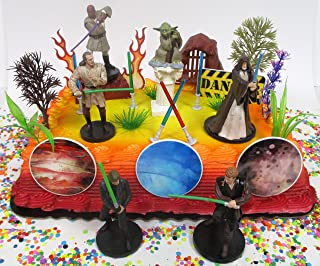 Classic STAR WARS Birthday Cake Topper Set Featuring Iconic Star Wars Figures and Themed Decorative Accessories