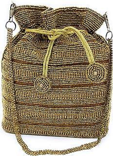 WOMEN'S DESIGNER ELEGANT ROYAL HANDMADE POTLI BAG/HANDBAG/PURSE/CLUTCH BAG ADORA ACI 093 ANTIQUE GOLD