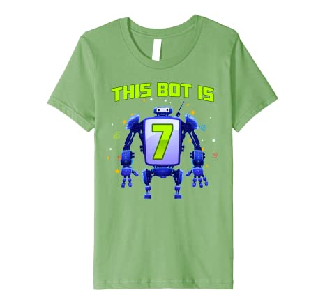 Amazon.com: Kids 7th Birthday Bot Robot Tshirt This Bot is 7 ...
