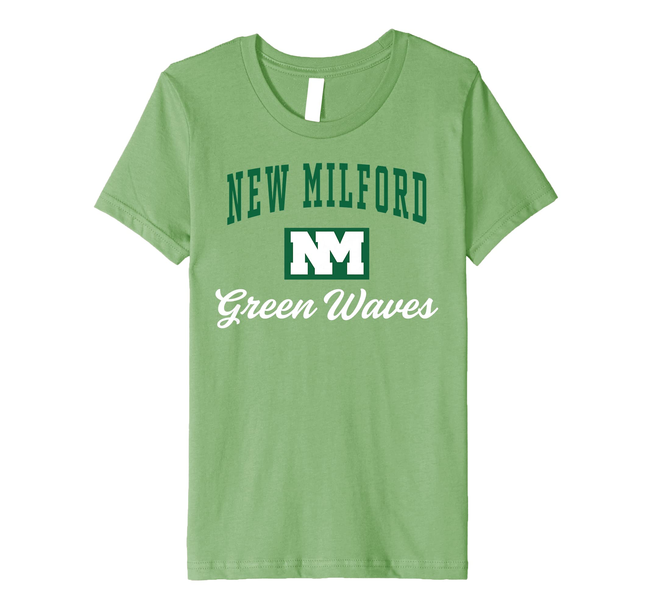 98dfb04f2f92 Amazon.com: New Milford High School Green Waves Premium T-Shirt C3: Clothing