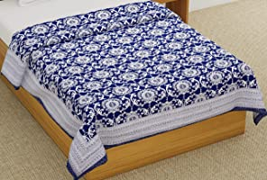 BLOCKS OF INDIA Cotton Single Size Quilt Hand Block Print for Light Winters (60x90 Inches) (Solid Blue)