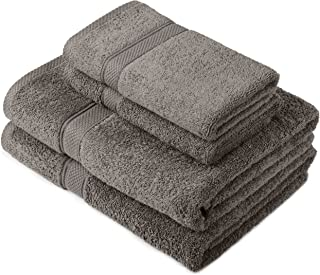 Pinzon by Amazon - Egyptian Cotton Towel Set, 2 Bath and 2 Hand Towels - Gray, 600gsm
