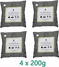 Natural Feel 100% All Natural Activated Bamboo Charcoal Air Purifying Deodorizer Bags 4x200g Natural Air Purifying Bag. Odor Eliminator for Cars, Closets, Bathrooms and Pet Areas. Captures and Eliminates Odors. Bamboo Activated Charcoal Air Freshener, Deodorizer and Purifier Bags - 100% Natural & Chemical Free Moisture, Odor Absorber, Odor Neutralizer & Mold Removal Kit
