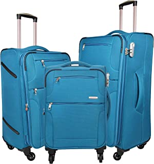 Murano Commando 20/24/28 Inch Polyster Travel/Trolley/Tourist Bag, 4 Wheels Soft Sided Check-in Luggage - Blue
