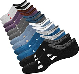 M&Z Mens No Show Low Cut Athletic Reinforced Cushioned Cotton Non-Slip Socks 6Pack