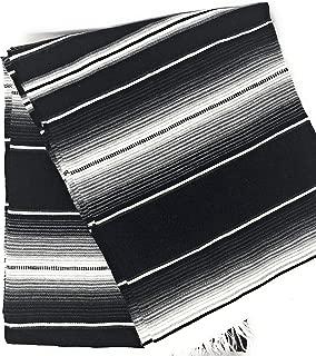 Mexitems Large Serape Mexican Blanket Authentic Sarape Blanket 7' X 5' Zarape (Pick Your Color) (Black/Blue)
