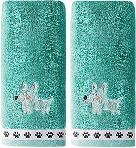 SKL Home by Saturday Knight Ltd. Scribble Pup Hand Towel Set, Jade