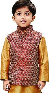 JBN Creation Boys' Maroon Silk Blend Modi Nehru Jacket(VASBJMA005)