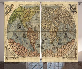 Ambesonne Antique Decor Collection, Ancient Map of World Global History Stained Paper Oceans Lands Atlas Educational Art, Living Room Bedroom Curtain 2 Panels Set, 108 X 84 Inches, Ivory Blue Green