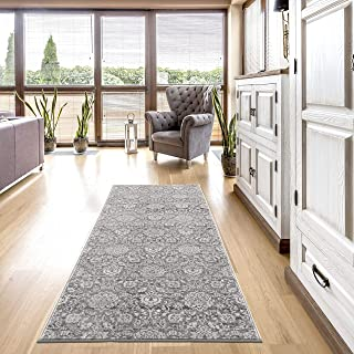 Grey Runner Rug 2.6 x 7.9 by LOOM&WEAVE for Hallways, Entryway, Bed Sides, Kitchen & Bathroom - Instantly Transform Your Modern, Farmhouse, Shabby Chic or Bohemian Home Décor (MOR)