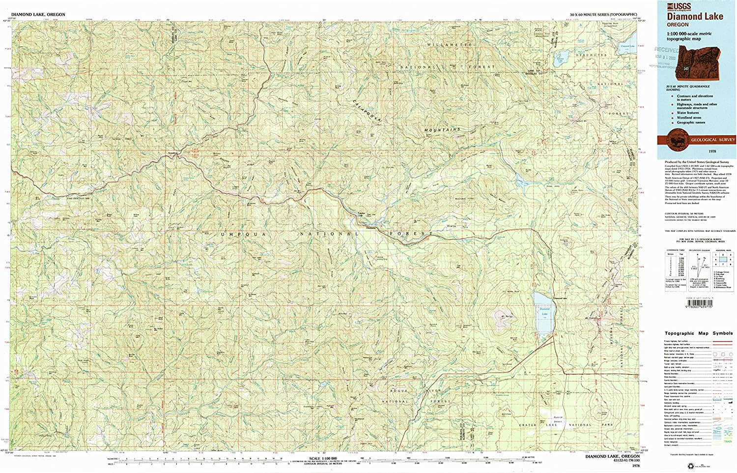 Diamond Lake OR topo map, 1 100000 Scale, 30 X 60 Minute, Historical, 1978, Updated 1994, 24.1 x 38.3 in