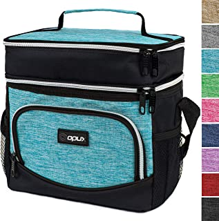 OPUX Insulated Dual Compartment Lunch Bag, Double Deck Lunch Box for Men, Women Kids | Soft Leakproof Lunch Tote Cooler for Work, Office, School | Medium Reusable Lunch Pail, Fits 8 Cans (Turquoise)