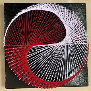 Handy Home 3D Wooden String Art Decorative Wall Hanging (12 * 12 Inch, Red & White)