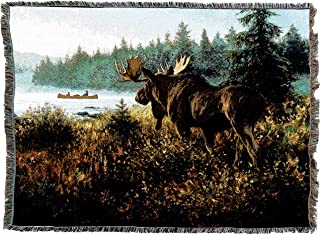 Pure Country Weavers   in His Domain Moose Lodge Cabin Hunting Decor Woven Tapestry Throw Blanket with Fringe Cotton USA 72x54