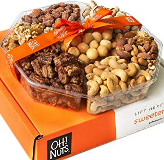 Oh! Nuts Christmas, Gourmet Nut Gift Baskets, Jumbo 2LB 7 Variety Holiday Freshly Roasted Tray, Thanksgiving Mothers & Father's Day Gifts, Prime Basket Idea for Men & Woman Birthday, Sympathy & Get We
