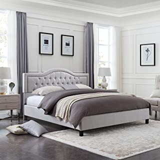 Christopher Knight Home Margaret Fully-Upholstered Traditional King-Sized Bed Frame, Light Gray Dark Brown