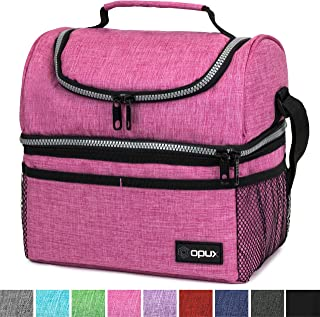 Insulated Dual Compartment Lunch Bag for Women, Ladies | Double Deck Reusable Lunch Box Cooler with Shoulder Strap, Leakproof Liner | Medium Lunch Pail for School, Work, Office (Heather Pink)
