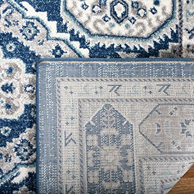 Safavieh Madison Collection MAD501 Tapis d'intérieur Moderne et Chic pour Salon, Chambre à Coucher ou Tout Espace intérieur Bleu Marine/Gris 122 x 183 cm