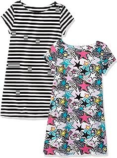 Amazon Brand - Spotted Zebra Girls' Toddler & Kids 2-Pack Knit Short-Sleeve A-Line T-Shirt Dresses