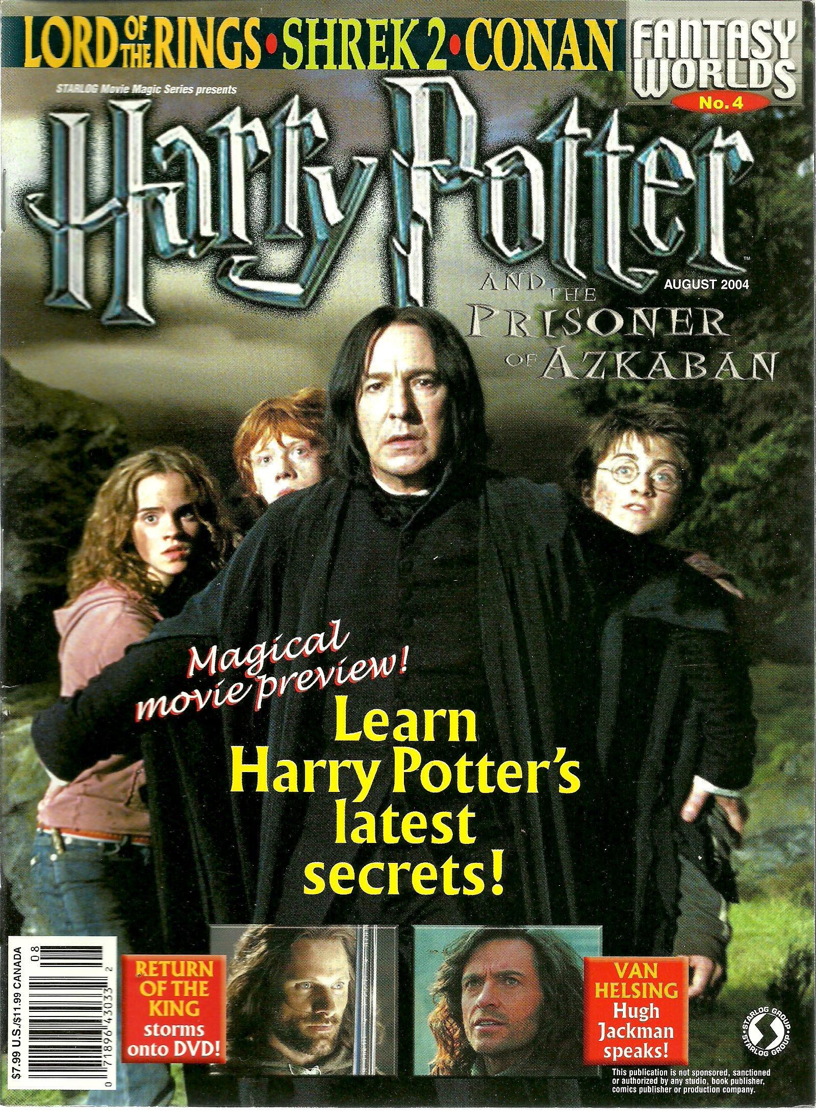 Fantasy Worlds Magazine - Harry Potter and the Prisoner of Azkaban, Lord of the Rings, Shrek 2, Conan, Hugh Jackman, Harry Potter's Latest Secrets (August, 2004, Noo. 4)