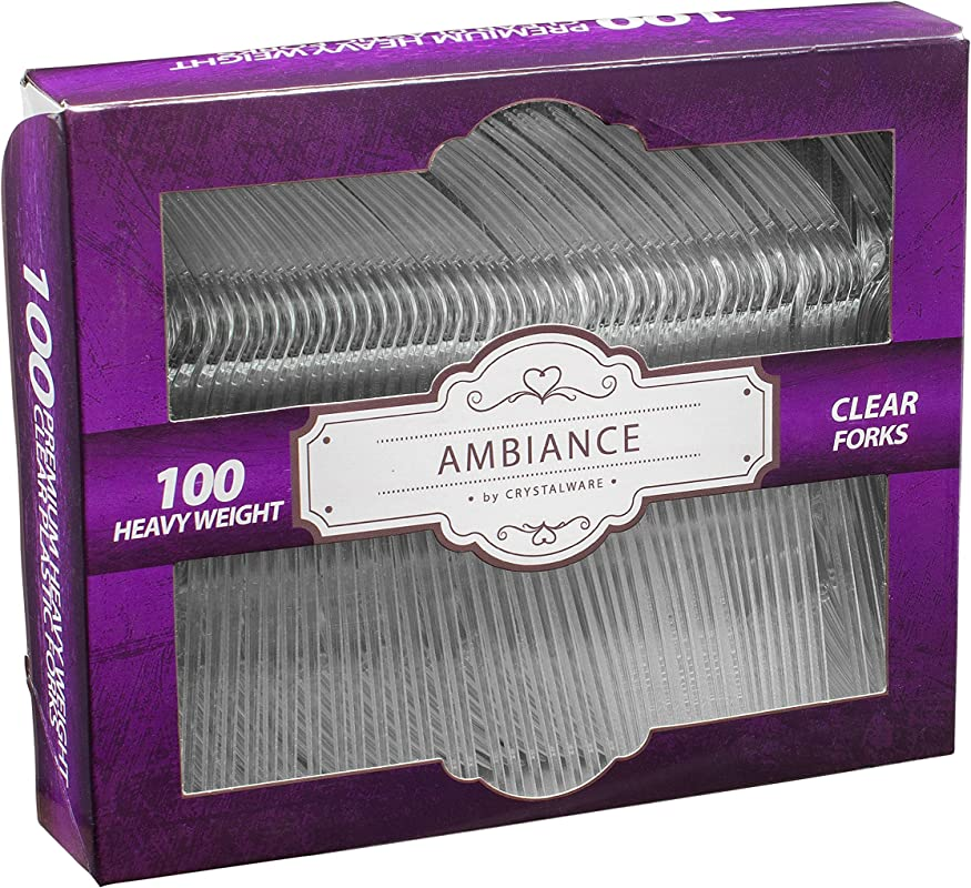 Crystalware Heavy Weight Clear Plastic Forks Durable Disposable Box Of 100