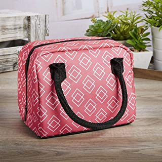 Fit & Fresh Anastasia Insulated Lunch Bag, Dual Rolled Handles and Zippered Closure, Coral Square Tile