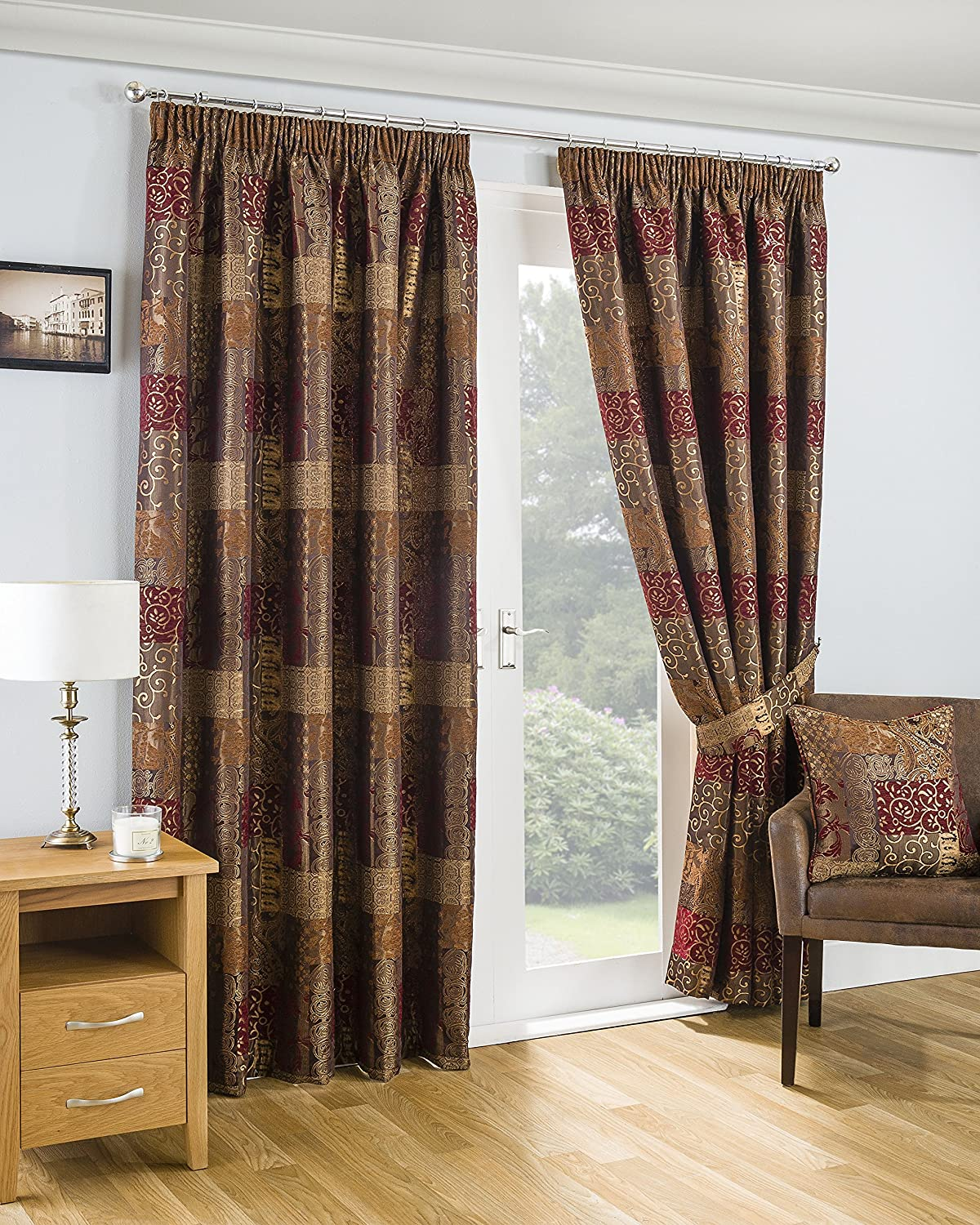 Ians Emporium One Pair Of CASAwhiteA Mgoldccan Style Lined 3  Pencil Pleat Curtains - TERRACOTTA - 90  W x 90  L - Curtains At Home