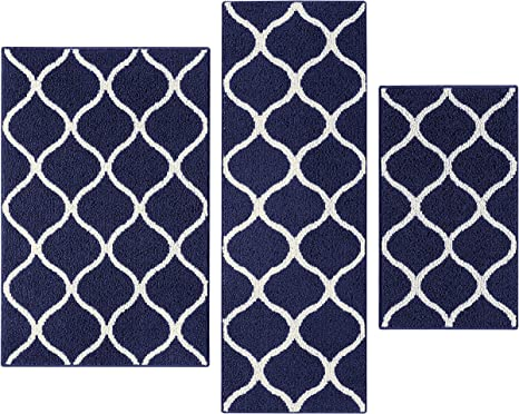 Amazon Com Maples Rugs Kitchen Rug Set Rebecca 3pc Set Non Kid Accent Throw Rugs Runner Made In Usa For Entryway And Bedroom Navy Blue White Furniture Decor