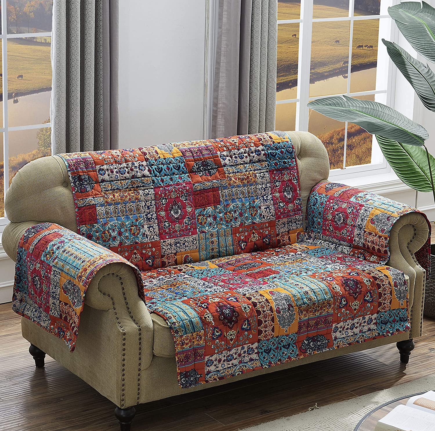 Barefoot Bungalow Indie Max 67% OFF Spice Slipcover Genuine Loveseat
