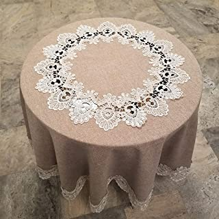 HomChic, Linen Look with Lace, Washable, Spill Proof, Heavy Weight, Treated Polyester Tablecloth,60 inch Round Brown