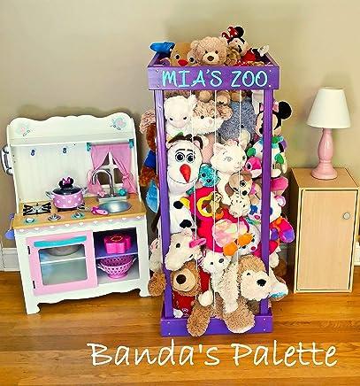 "2', 32"", 3', 4' Personalized Stuffed Animal Zoo, Wood Animal Holder, Storage, Stuffed Animal Organizer, Kids Gifts, Ball Storage, Birthday Gift, Stuffed Animal Storage, Zoo Keeper"
