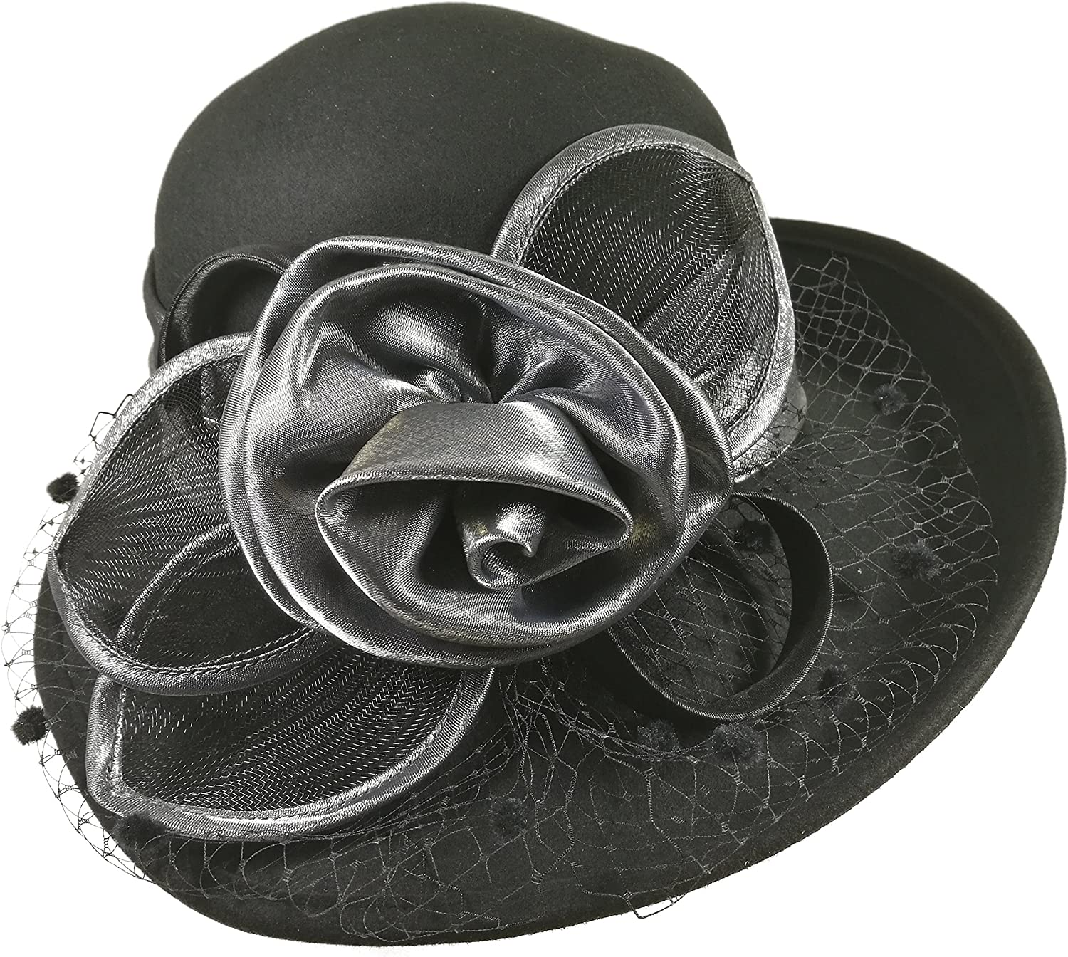 Facinie Dress felt hat profile with angled brim one side feather flower bow