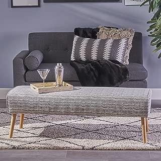 Christopher Knight Home 304458 Sade Mid Century Boho Fabric Ottoman, Light Grey Zig Zag Pattern