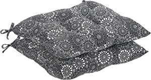 AmazonBasics Tufted Outdoor Square Seat Patio Cushion - Pack of 2, Black Floral