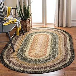 Safavieh Braided Collection BRD308A Hand Woven Blue and Multi Oval Area Rug (8' x 10' Oval)